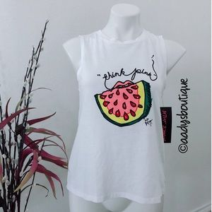 BETSEY JOHNSON PERFORMANCE WHITE COTTON BLEND TANK